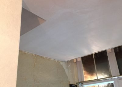 Insulated and boarded ceiling, curved landing ceiling skimmed