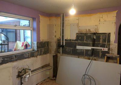 Room prepared for replastering