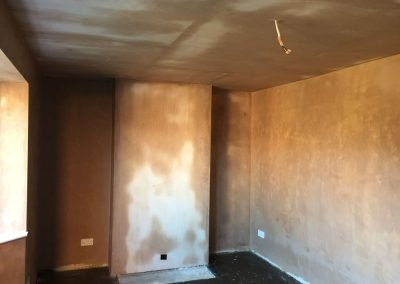 Fully finished, plastered fireplace