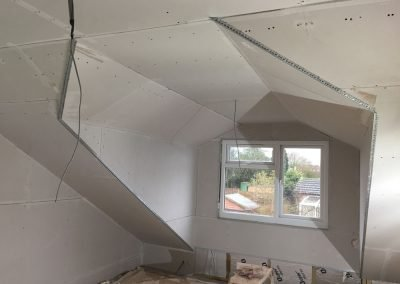 Plasterboarded Loft Extension Before Being Skimmed