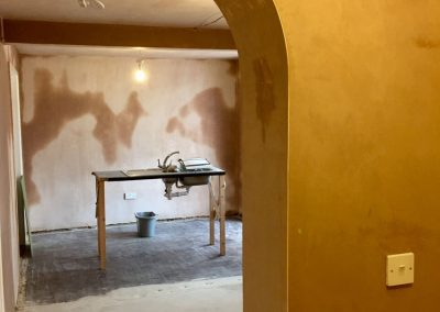 Freshly plastered walls and ceiling