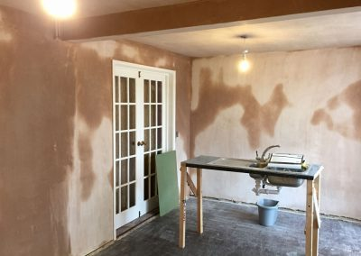 Full kitchen repair, boarded ceiling and skimmed