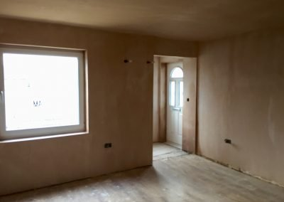 Downstairs Extension Plasterboarded & Skimmed